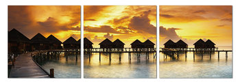 Silhouettes of cabins at sea Modern kép