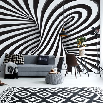 3D Black And White Twister Fotobehang