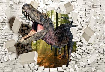3D Dinosaur Bursting Through Brick Wall Fotobehang