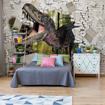 3D Dinosaur Bursting Through Brick Wall Fotobehang