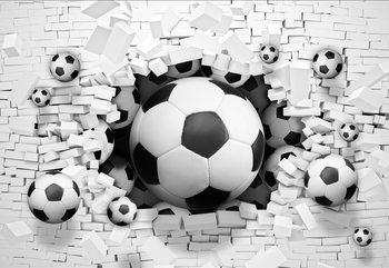 3D Footballs Bursting Through Brick Wall Fotobehang