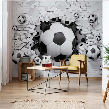 3D Footballs Bursting Through Brick Wall Fotobehang