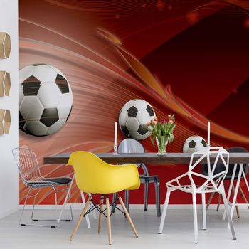 3D Footballs Red Background Fotobehang