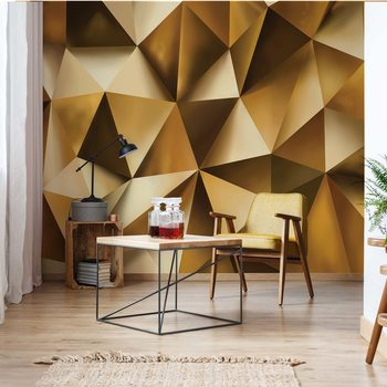 3D Gold Polygon Texture Fotobehang