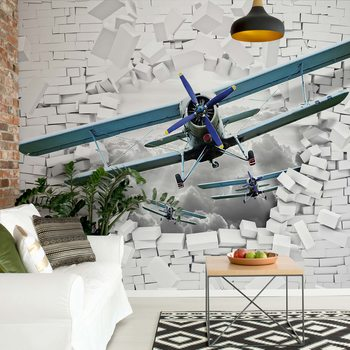 3D Plane Bursting Through Brick Wall Fotobehang