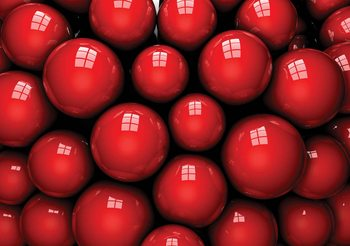 Abstract Modern Red Balls Fotobehang