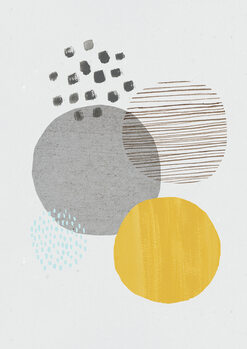 Abstract mustard and grey Fotobehang