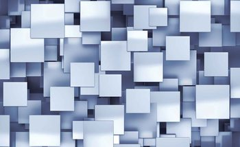 Abstract Squares Modern Blue Fotobehang