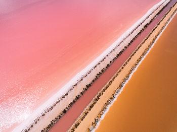 Aerial view of a salt lake Fotobehang