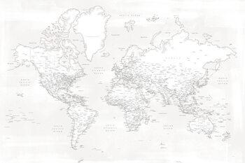 Almost white detailed world map Fotobehang