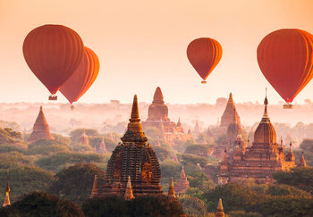 Ballons over Bagan Fotobehang