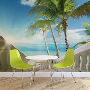 Beach Tropical Sea Palms Fotobehang