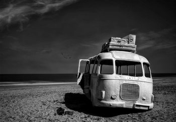 Beached Bus Fotobehang