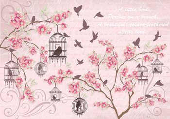 Birds Cherry Blossom Pink Fotobehang