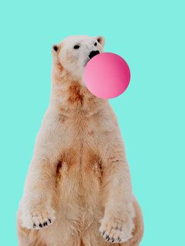 Bubblegum polarbear Fotobehang