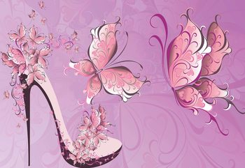 Butterflies And High Heel Shoe Pink Fotobehang
