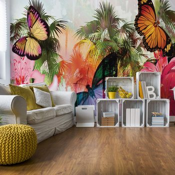 Butterflies Palms Flowers Modern Tropical Fotobehang