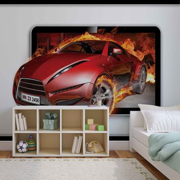 Car Flames Fotobehang
