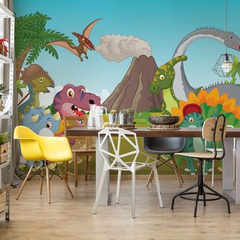 Cartoon Dinosaurs Fotobehang