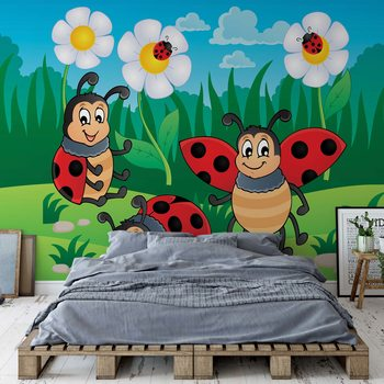 Cartoon Ladybirds Fotobehang