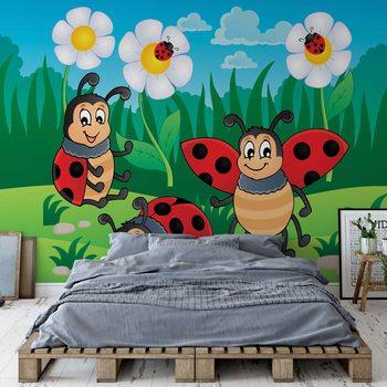 Cartoon Ladybirds Fotobehang