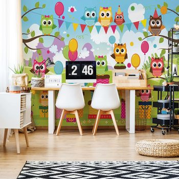 Cartoon Owl Party Fotobehang