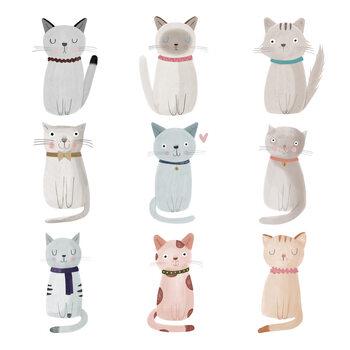 Cat Family Fotobehang