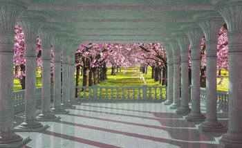 Cherry Trees through The Arches Fotobehang