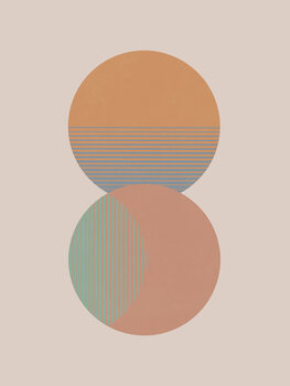 Circle Sun & Moon Colour Fotobehang