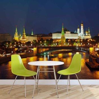 City Moscow River Bridge Skyline Night Fotobehang