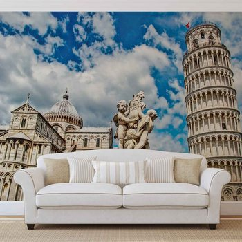 City Piazza Miracoli Leaning Tower Pisa Fotobehang