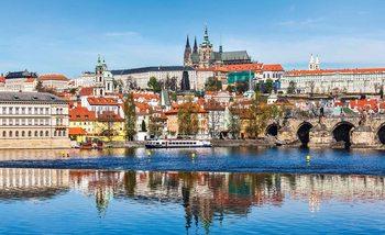 City Prague Bridge River Cathedral Fotobehang