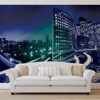 City Skyline Night Fotobehang