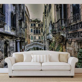 City Venice Canal Bridge Art Fotobehang