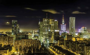 City Warsaw Night Travel Fotobehang