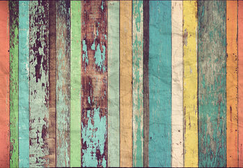 Colored Wooden Fotobehang
