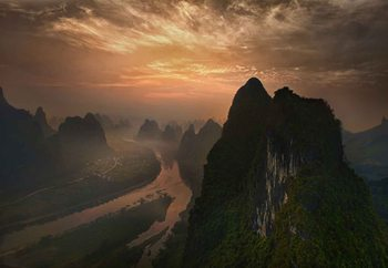 Dawn At Li River Fotobehang