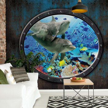Dolphins Coral Reef Underwater Submarine Window View Fotobehang