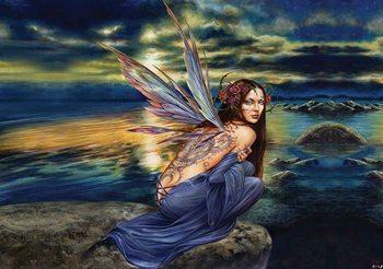 Fairy Sea Flowers Wings Fotobehang