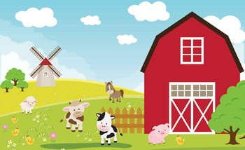 Farm Cartoon Boys Bedroom Fotobehang