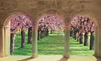 Flowering Trees Through The Arch Fotobehang