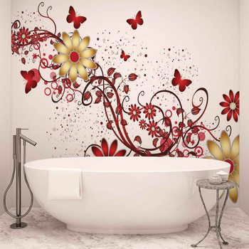 Flowers Butterflies Pattern Red Fotobehang