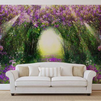 Flowers Purple Forest Light Beam Nature Fotobehang