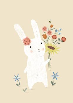 Flowers - Rabbit Fotobehang
