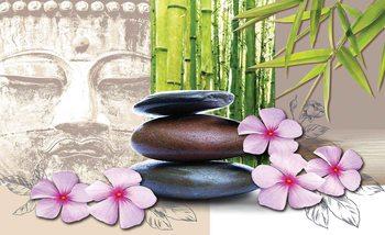 Flowers With Zen Stones Fotobehang