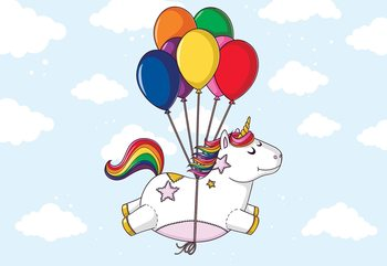 Flying Unicorn With Balloons Fotobehang