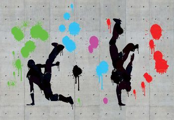 Graffiti Concrete Wall Dancers Fotobehang