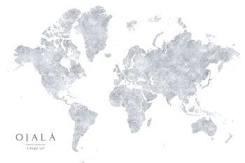 Grayscale watercolor world map, I hope so Fotobehang