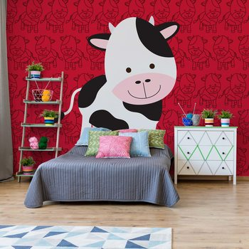 Happy Cartoon Cow Fotobehang