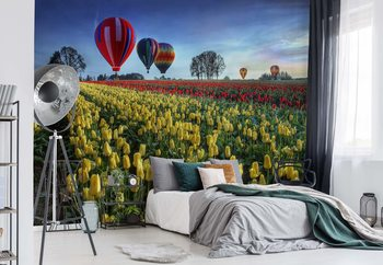 Hot Air Balloons Over Tulip Field Fotobehang
